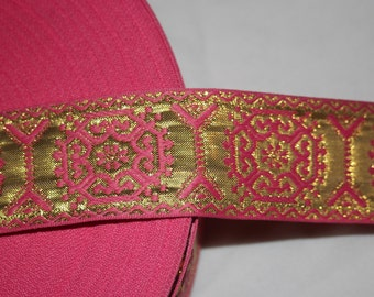 "2.25 yards Bubblegum Pink GOLD reversible JACQUARD Brocade woven sewing craft ribbon Trim 1.5"" wide s705"