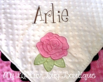 personalized baby blanket- white brown and hot pink rose- baby stroller blanket