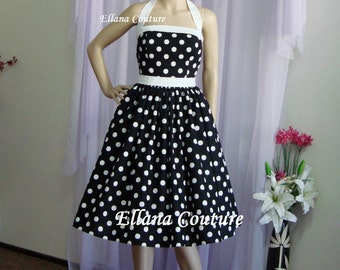 Sample SALE. Lucy - Large Polka Dot Cotton Knee Length Dress.