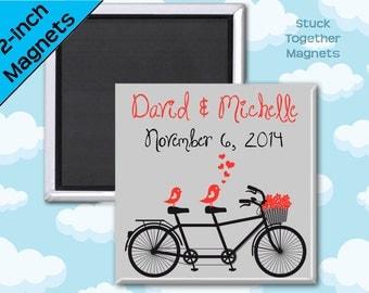 Wedding Favor Magnets - Love Birds on Bike - 2 Inch Squares - Set of 10 Magnets