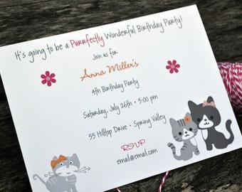 Birthday Party Invitation / Kitty Cat Party Invitation / Kids Birthday Party Invitation / Cat Party Invitation / Party Invite / Birthday