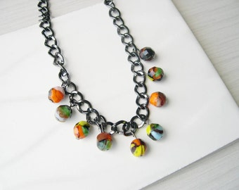 Multicolor Necklace, Artsy, Halloween Jewelry, Czech Glass, Satement, Orange, Yellow,  Beaded, Green, Black, Blue, Chunky Chain