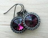 Small Swarovski Earrings Round Amethyst Crystal Jewelry Happy Birthday February Birthstone Amethyst Swarovski Crystal Jewelry Gift for Her