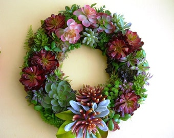 Large Faux Succulent  Door Wreath, Front Door Wreath of Artificial Succulents, Artificial Plant Wreath, Green Wreath
