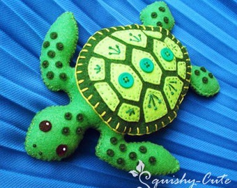 Sea Turtle Sewing Pattern PDF - Stuffed Animal Felt Plushie - Sammy the Sea Turtle