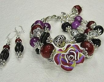 PURPLE / BURGUNDY CHUNKY Statement Rose Charm Bracelet Set with Earrings - CaSaBLaNca