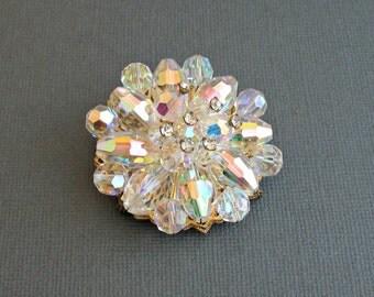 Vintage Crystal Brooch Aurora Borealis Beads