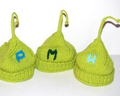 3 peas in a pod, cotton seamless hats for triplets boys or girls, Newborn-3 months. Make your choice Original design Perfect photo prop