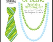Printable St. Patrick's Day Tie and Necklace Matching Sibling Set, PRINTABLE Iron On Heat Transfers for children, toddlers, infants,  Decal