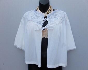 Vintage Bed jacket, gaymode, Lingerie, White Nylon and Lace Bed Jacket, M