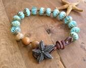 Starfish bracelet - One More Wave - Boho jewelry, leather wrap bracelet nautical jewelry summer beach jewelry starfish  aqua sky blue rustic
