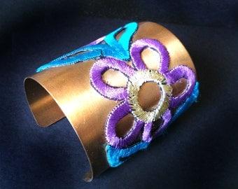 Gold Cuff Bracelet,LACE Cuff bracelet Long Cuff bracelet ,Womens bracelet ,Holiday Gift, Gold Cuff bracelet Taneesi