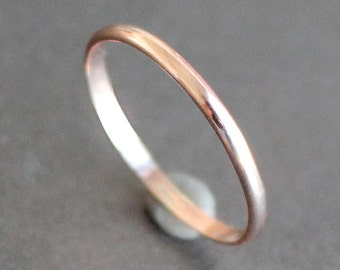 14K Rose Gold-Filled Ring - Simple Band - Made to Order -1.6mm - Classic Half-Round Silhouette - Recycled/Eco Gold