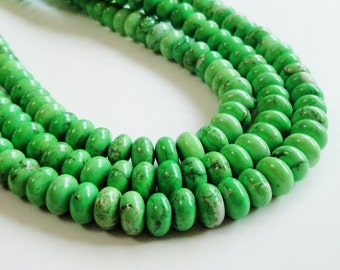 Green Rondelle Beads -  Green Howlite Gemstone Round - Smooth Natural Stone Beads - 9mm x5mm - 16 Inch Strand - DIY Jewelry Projects