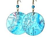 Ocean Blue Turquoise Earrings,  Repurposed Maps, Lightweight Earrings