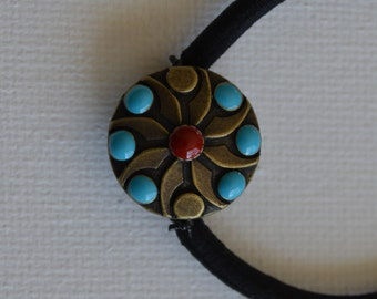 Metal with epoxy beads, ponytail holder