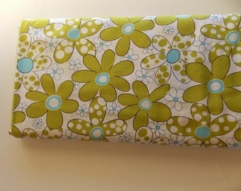 Robert Kaufman Daisies and Dots Chartreuse green lime
