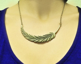 Large Antique Brass Feather Statement Necklace, Textured Antique Brass Chain, Bird, Jewelry For Women, Nature, Woodland, Trendy, Gift Idea