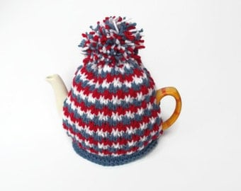 tea cosy hand knitted cozy red white blue  with pom pom