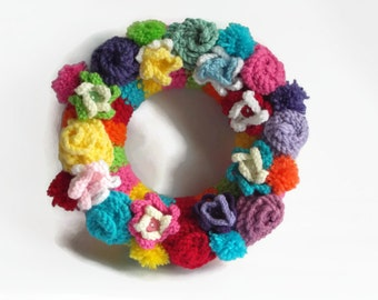 bright flower wreath multi coloured  floral wreath knitted roses and flowers