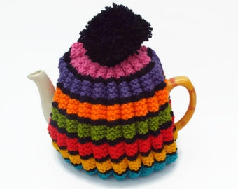 tea cosy  hand knitted cozy rainbow tea cosie
