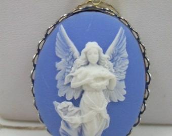 Vintage  Cameo Guardian Angel   Pendant Necklace white over blue Reproduction