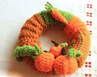 Door Wreath Crochet Pumpkins and Carrot, Front Door Wreath, Halloween Crochet Pumpkins, Autumn Harvest Home Decor Wreath, Fall Decoration