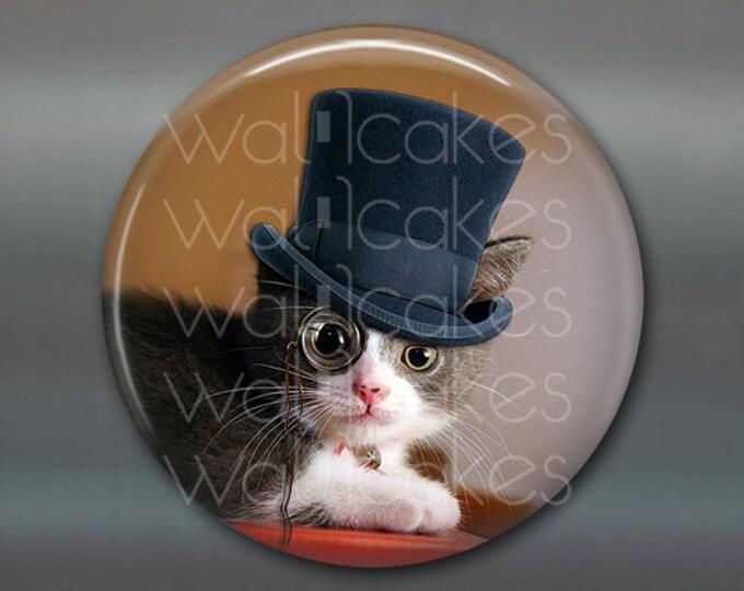 "3.5"" steampunk cat magnet, cat decor, steam punk decor, cat fridge magnet kitchen decor, large fridge magnet, housewarming gift  MA-1019"