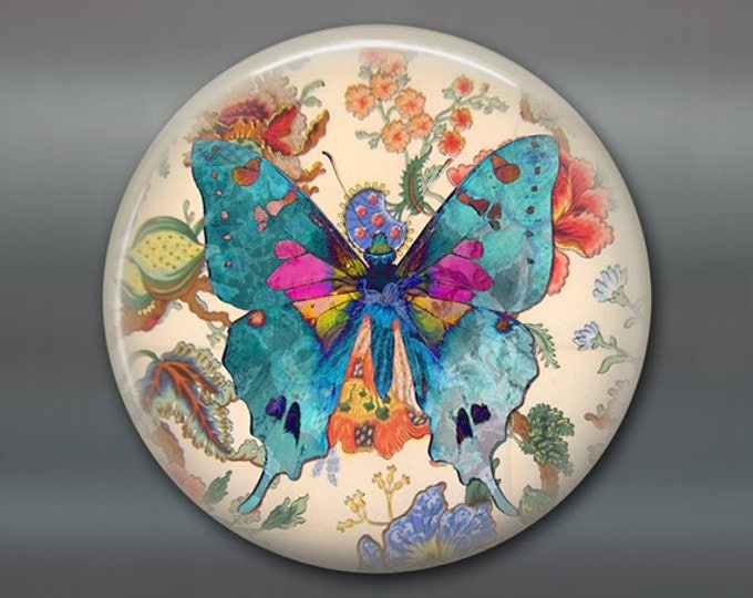 "3.5"" butterfly refrigerator magnet butterfly decor, cottage chic spring decor, kitchen decor, large magnet stocking stuffer MA-362"