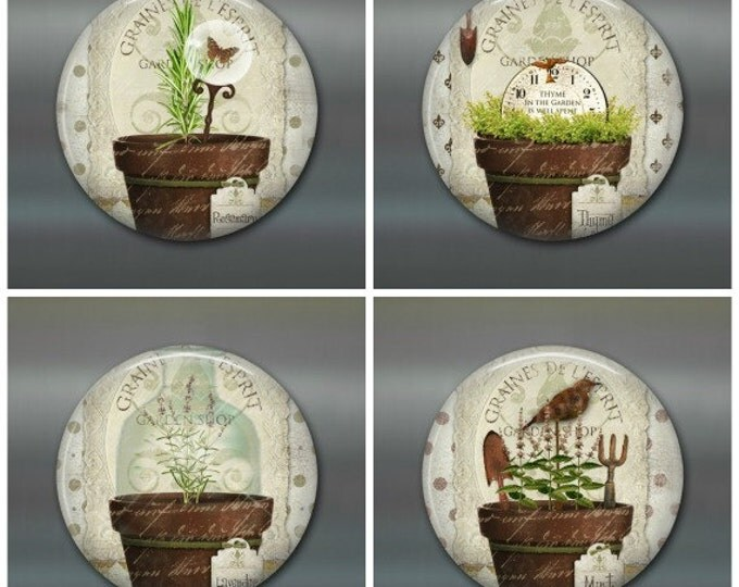 cottage chic magnet set - herb decor fridge magnets - gifts for gardeners - rustic kitchen decor gifts for her