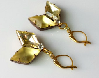 Earrings, Pale Yellow Vintage Diamond-Shaped Rhinestones in Brass Settings with Vintage Clear Rhinestone Charms