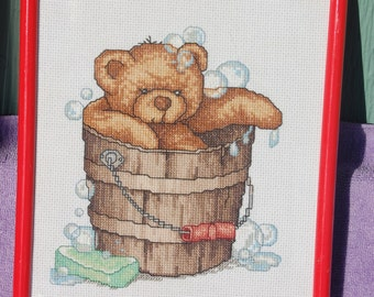 Completed and Framed - Bear in a Bucket