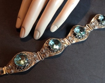 Silver Old Mexican Aqua Blue Stone Link Bracelet – 1940s Jewelry