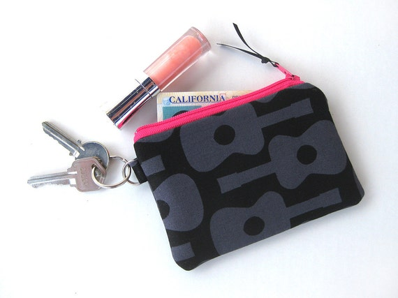 Coin purse, zip pouch, key ring, black and pink, guitar