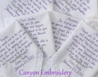 Embroidered Wedding Hankerchiefs, Wedding Gifts, Wedding Handkerchiefs, Set of Eight 8, Wedding Gifts Hankys by Canyon Embroidery on ETSY