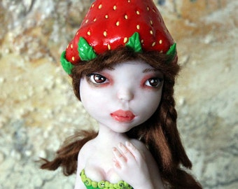 Art Doll One of a Kind Starwberry Darling sculpture made with clay