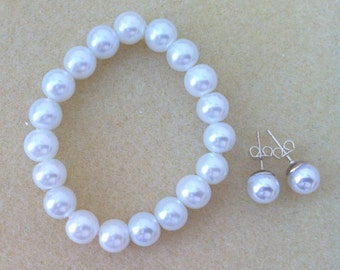 Flowergirl Bracelet and Pearl Stud Gift, flower girl gift