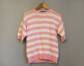 Striped Sweater Vintage 80s Pink White Large
