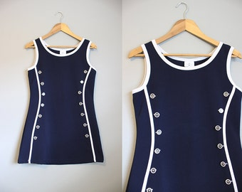 Sailor Dress Vintage Mini Bodycon Navy White Medium