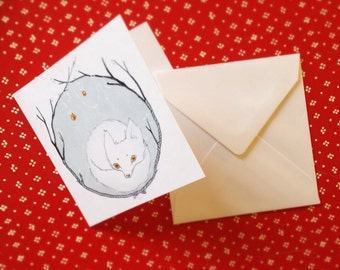 polar fox christmas cards / pack of 5 with envelopes