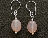 Pink Chalcedony Gemstone Earrings with Sterling and Bali Silver, Minimalist Sterling Silver Dangle Earrings Jewelry