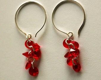 Red Siam Swarovski Crystal Cluster Earrings, Fashion Earrings, Sterling Silver Earrings, Valentine's Gift For Her, designbybehin