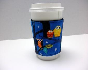 Coffee Cozy -  Coffee Cuff -  Coffee Sleeve - Reuseable Fabric Cozy - Eco Friendly -  Owls on Blue - Nice Teacher Gift