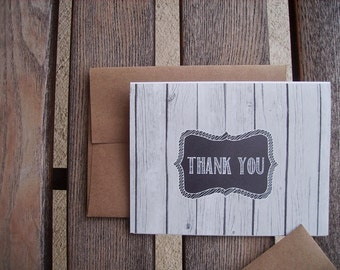 Rustic Thank You Card - Black Chalkboard Style Greeting Card, White Chalk Light Grey Wood Texture Thank You Card, White Black Grey Woodland