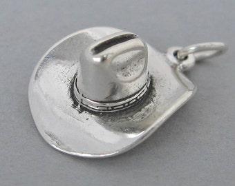 Sterling Silver 925 Charm Pendant 3D COWBOY HAT Westerm sc105