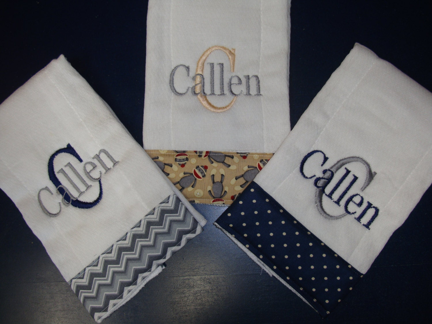 3 custom personalized burp cloths for boys baby gift baby