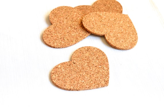 Heart Shaped Cork Coasters - set of 4, ready to gift or use!