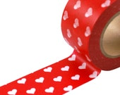 Washi tape White Hearts on RED - WIDE Masking Tape