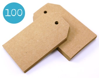 Kraft gift tags - 100 KRAFT BROWN sturdy cardstock parcel tags, hang tags - 1 9/16 x 2 3/4 - gift wrapping, wedding, packaging