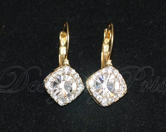 SALE 10% - Bridal Earring.Wedding Accessory.Bridal Jewelry.Bridal Solitaire Drop Gold Tone Earrings (S-2)